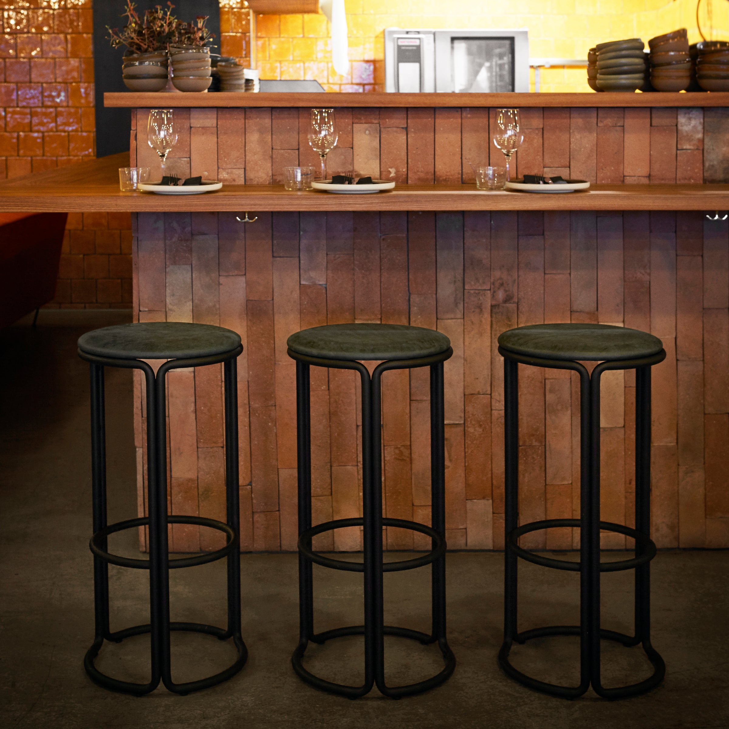 Hardie Bar/Counter Stool — Basque Red / Black Leather