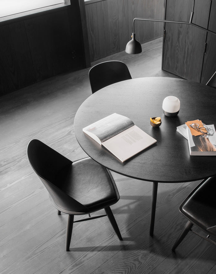 "Snaregade Dining Table — Round-Norm Architects-Menu-47""-Black-Oak Veneer-danish-interior-furniture-denmark-Average-design-toronto-canada"