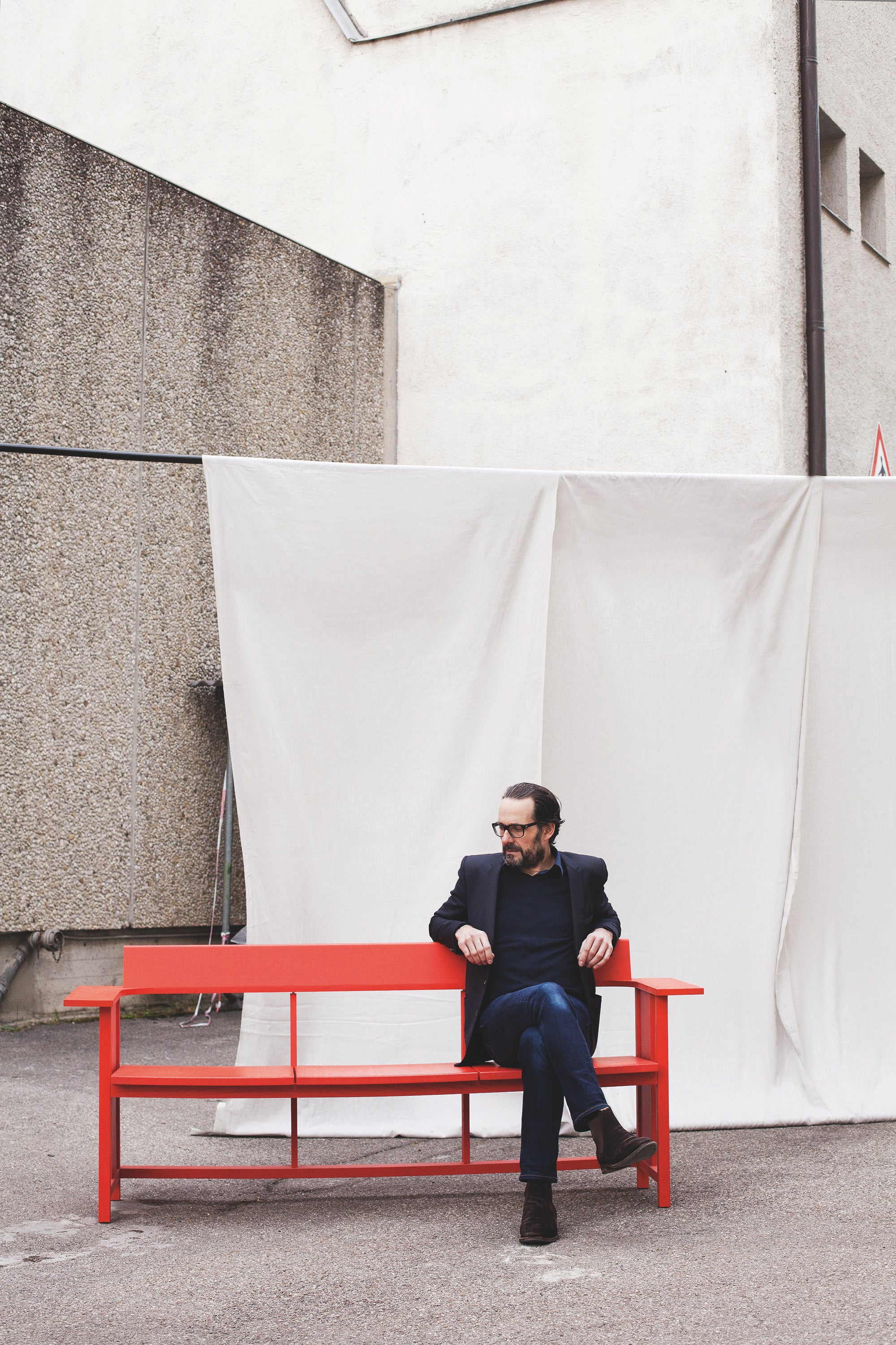 MC10 Clerici Bench — Ash, Stained Red-Konstantin Grcic-Mattiazzi-AVG