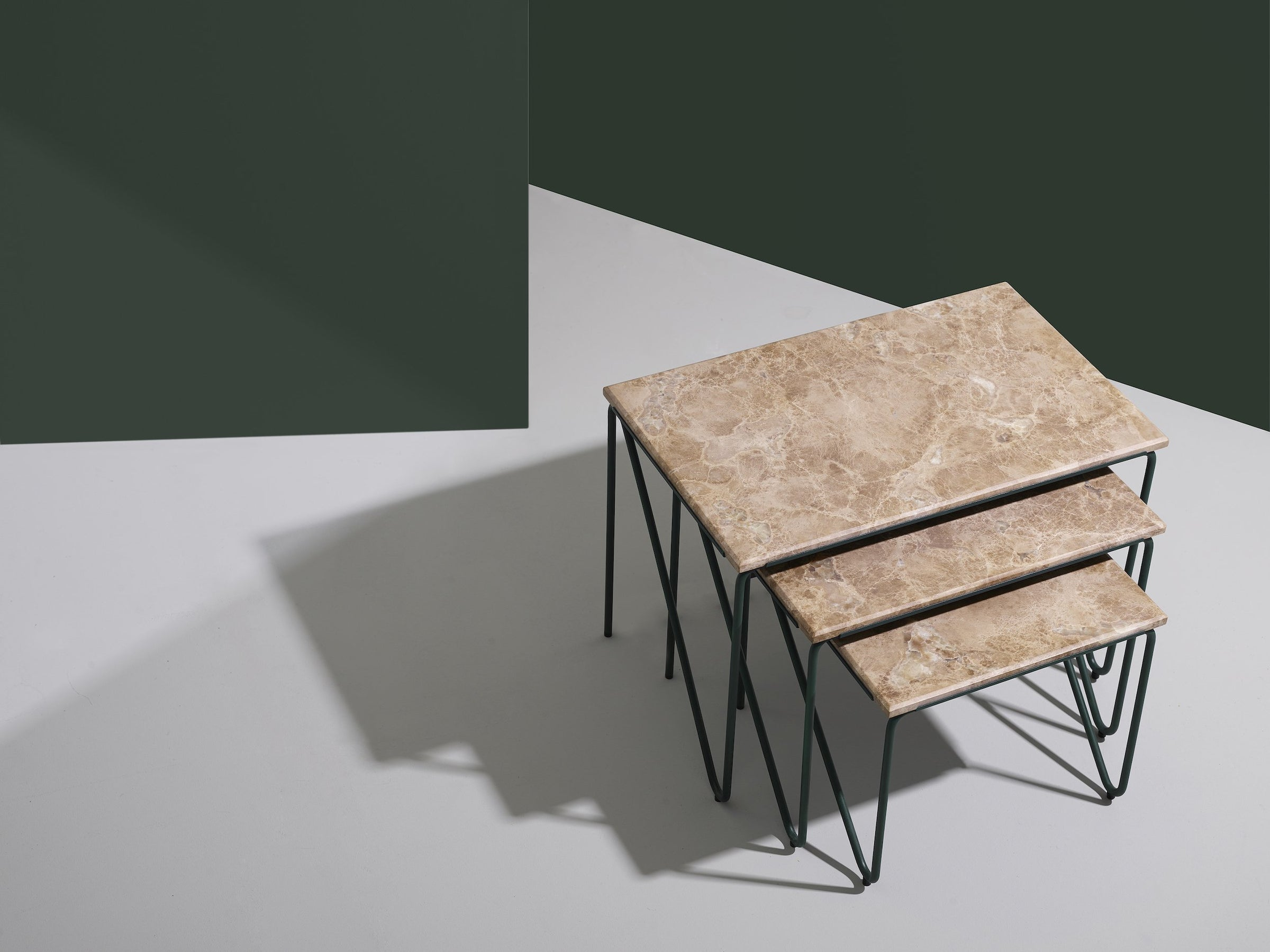 Triptych Nesting Table — Brown Marble-All The Way To Paris-Please Wait To Be Seated-Average