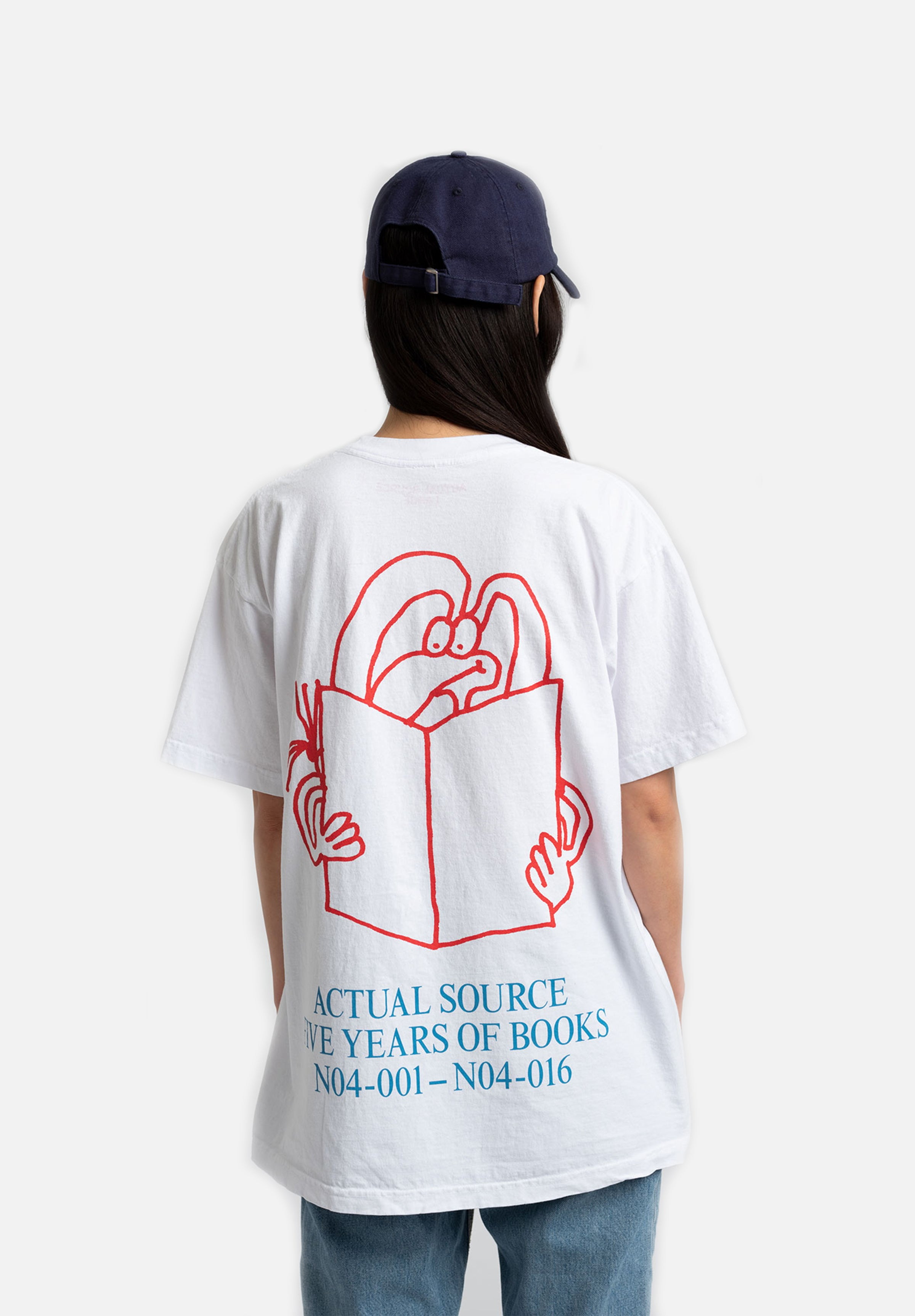 5 Years Of Books T-Shirt — Red/Blue-Steffan Marx-Actual Source-Small-Average