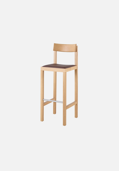 MC14 Primo Bar/Counter Stool — Oak, Dark Brown Leather-Konstantin Grcic-Mattiazzi-AVG