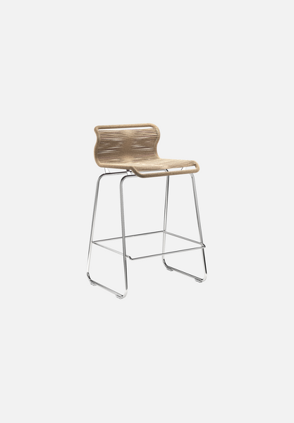 Panton One Stool — Natural Paper Cord-Verner Panton-Montana-Chrome Legs-Counter Height-Average