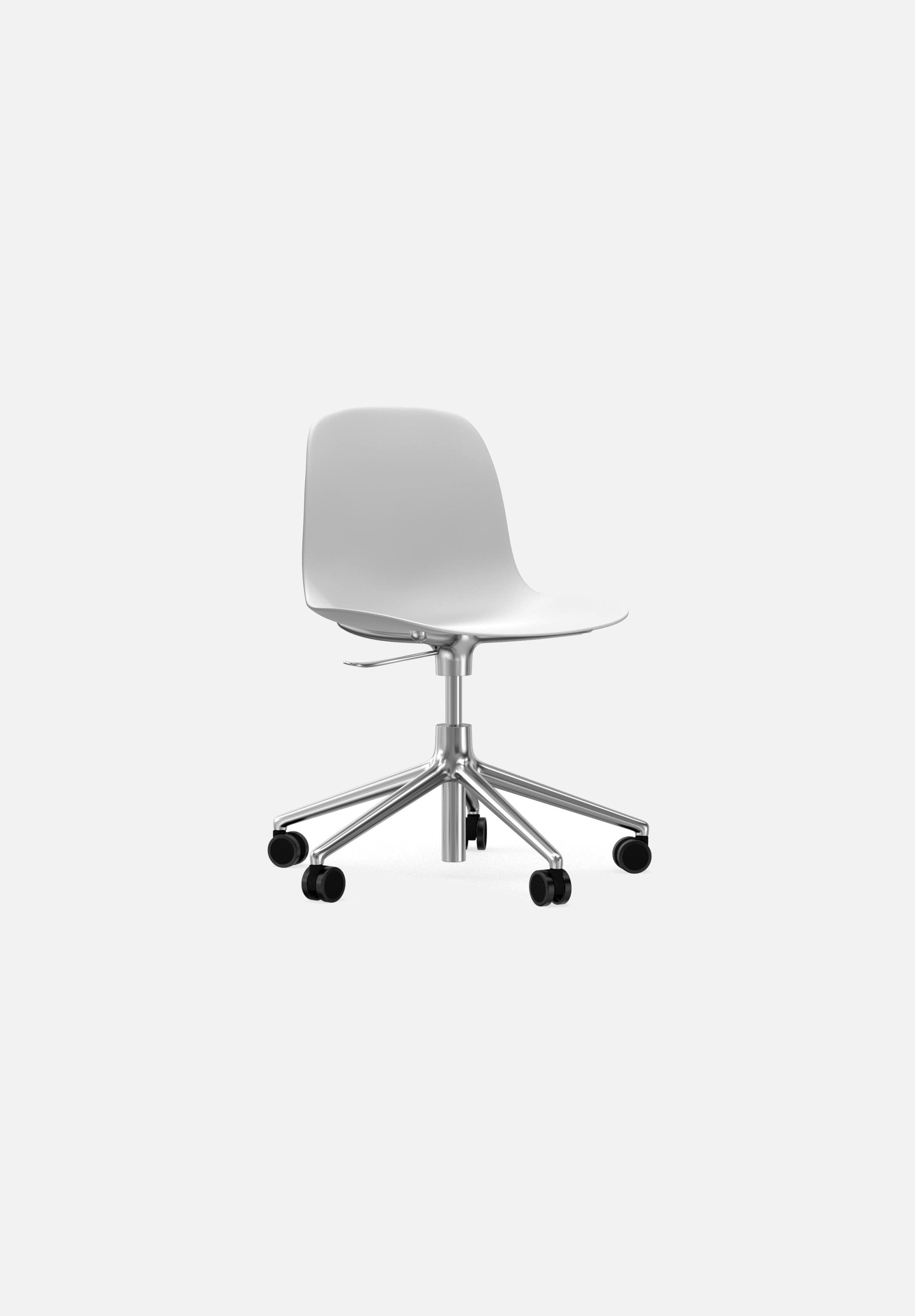 Form Chair — Swivel Gaslift-Simon Legald-Normann Copenhagen-White-Polished Aluminum-Average