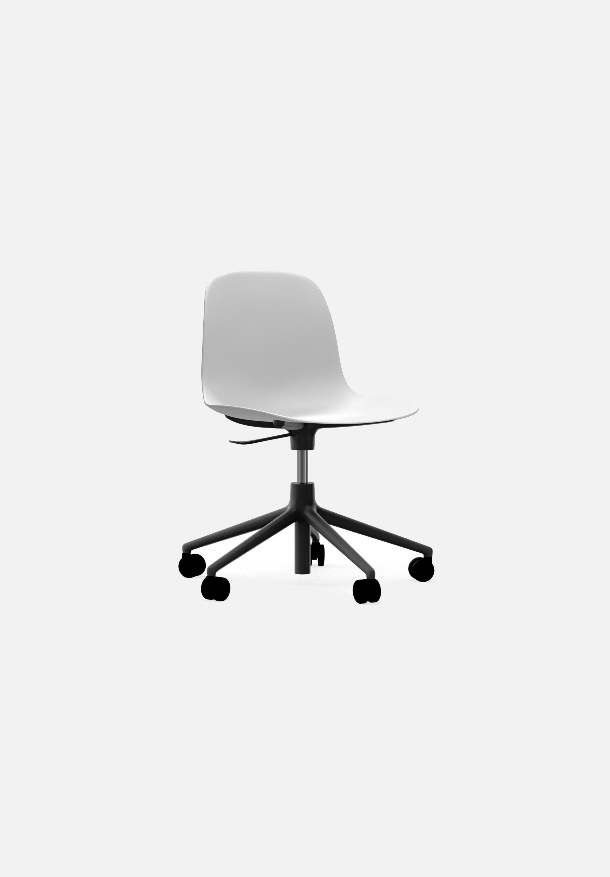 Form Chair — Swivel Gaslift-Simon Legald-Normann Copenhagen-White-Black Aluminum-Average
