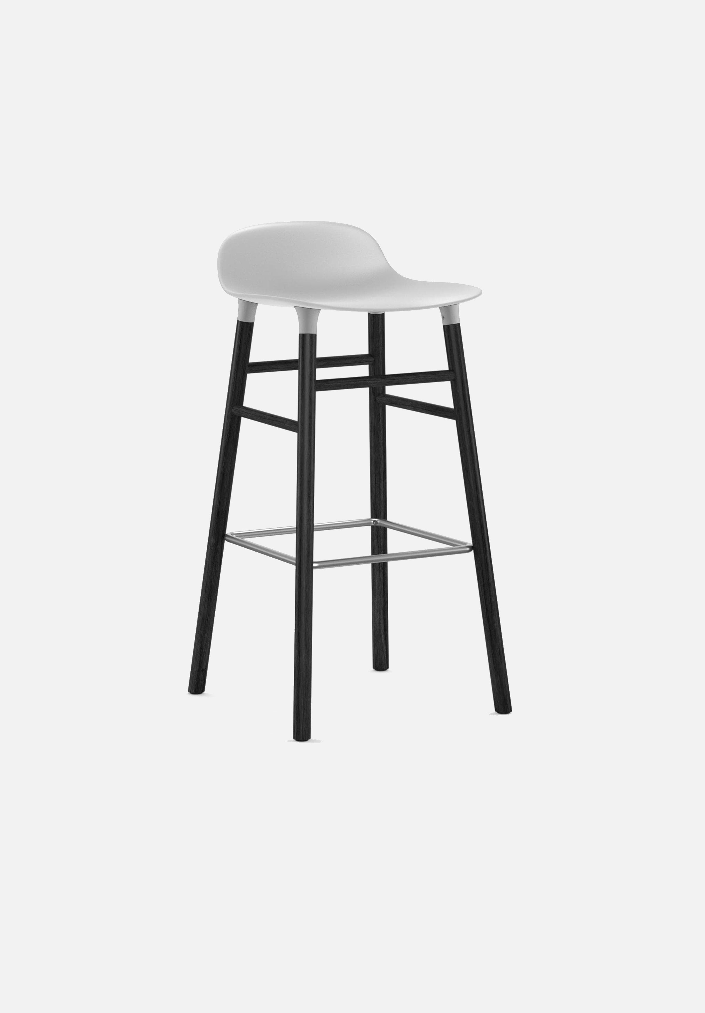Form Stool — 75cm-Simon Legald-Normann Copenhagen-White-Black Lacquered Wood-Average-canada-design-store-danish-denmark-furniture-interior