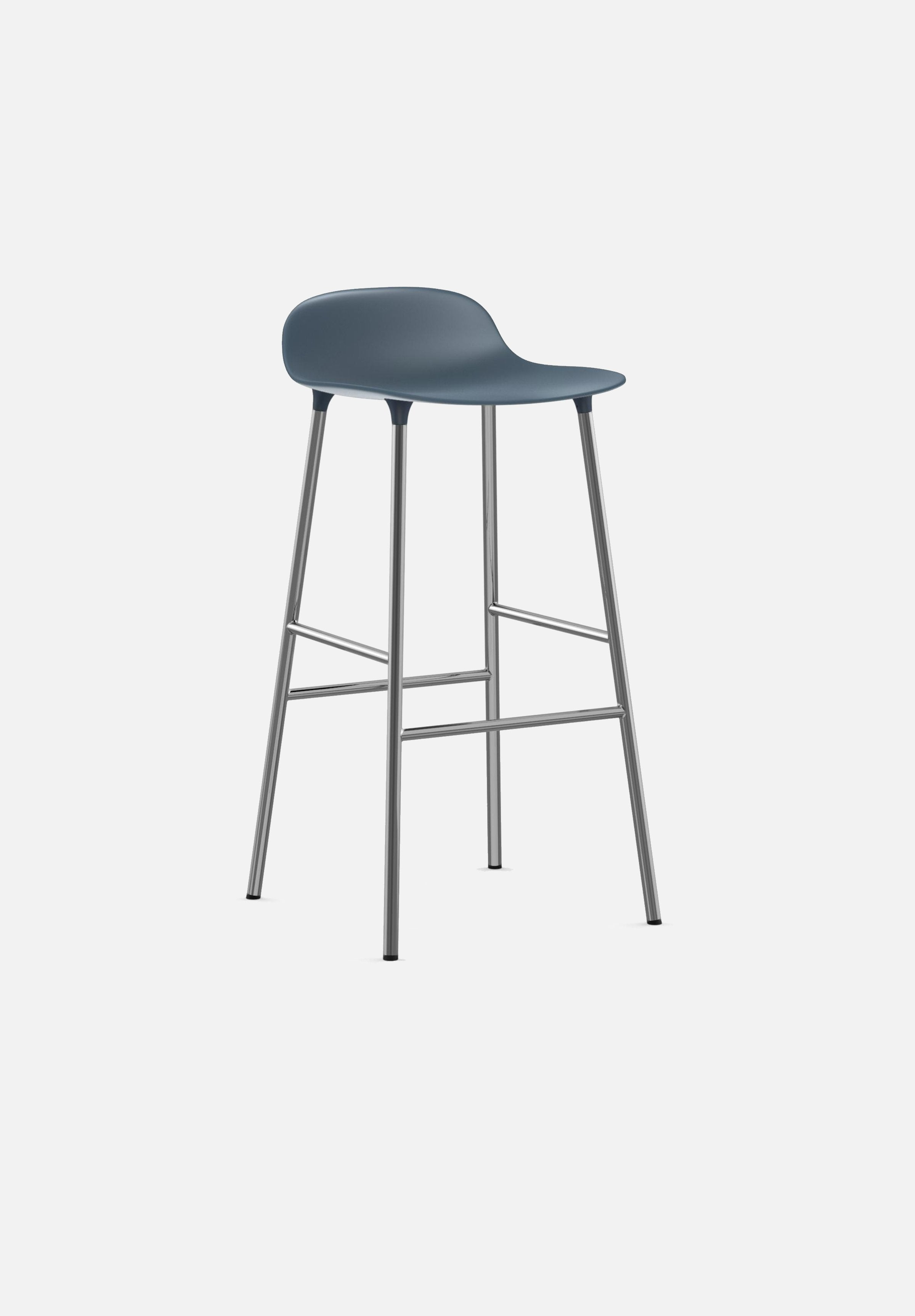 Form Stool — 75cm-Simon Legald-Normann Copenhagen-Blue-Chrome-Average-canada-design-store-danish-denmark-furniture-interior