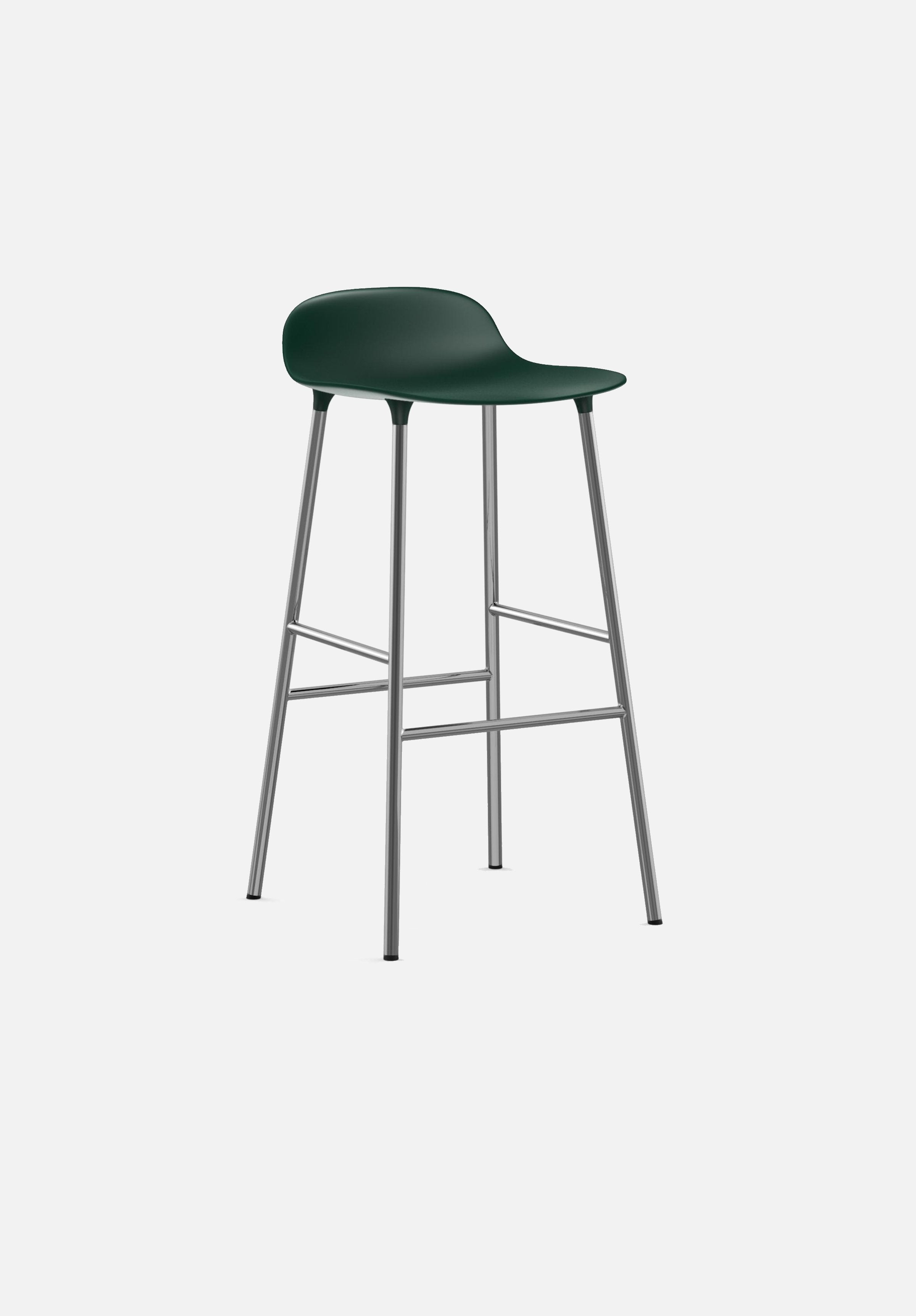Form Stool — 75cm-Simon Legald-Normann Copenhagen-Green-Chrome-Average-canada-design-store-danish-denmark-furniture-interior
