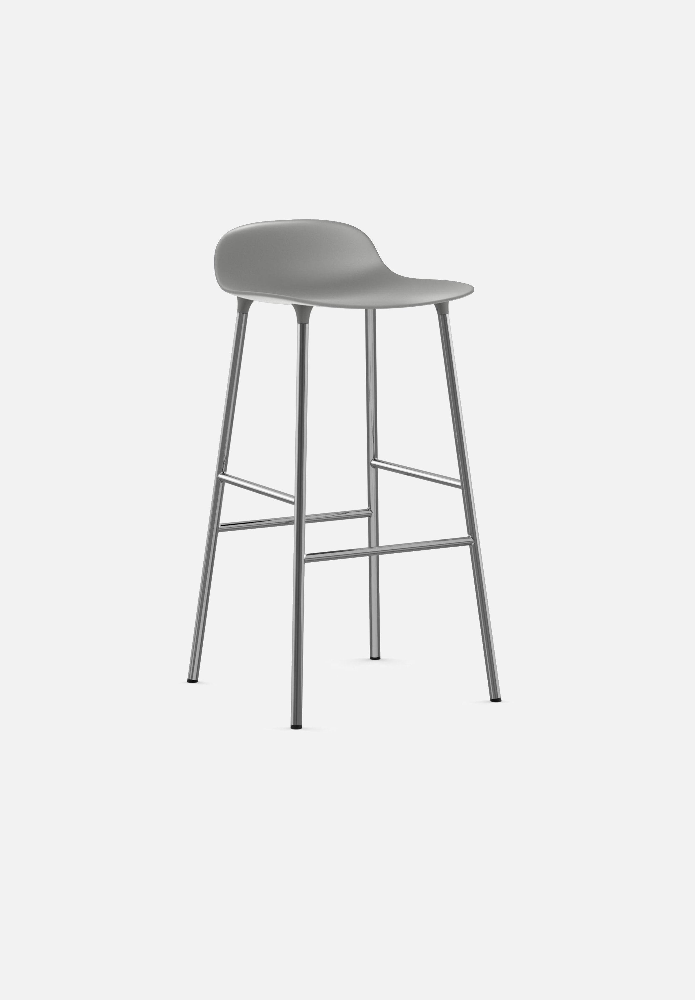 Form Stool — 75cm-Simon Legald-Normann Copenhagen-Grey-Chrome-Average-canada-design-store-danish-denmark-furniture-interior