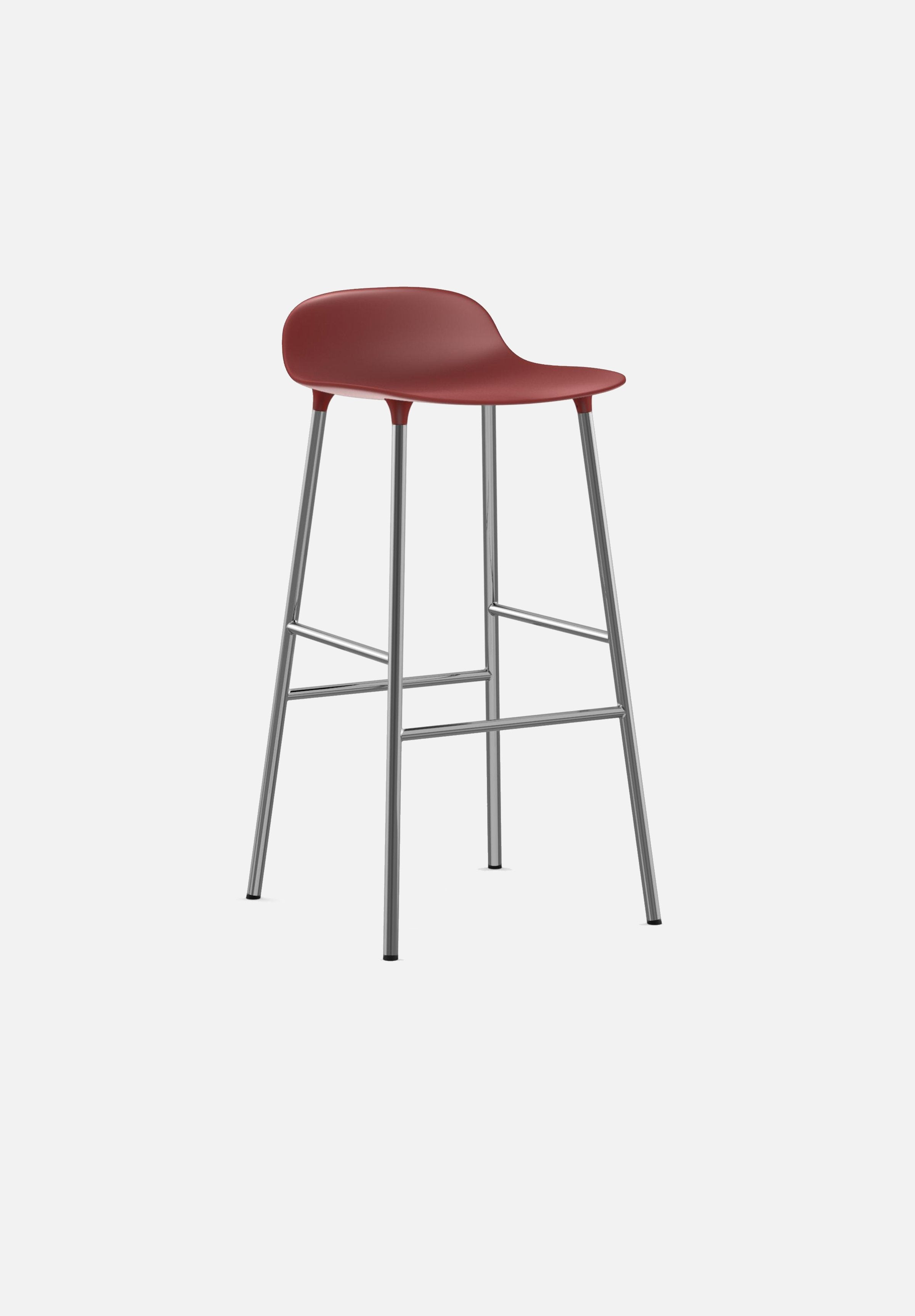 Form Stool — 75cm-Simon Legald-Normann Copenhagen-Red-Chrome-Average-canada-design-store-danish-denmark-furniture-interior