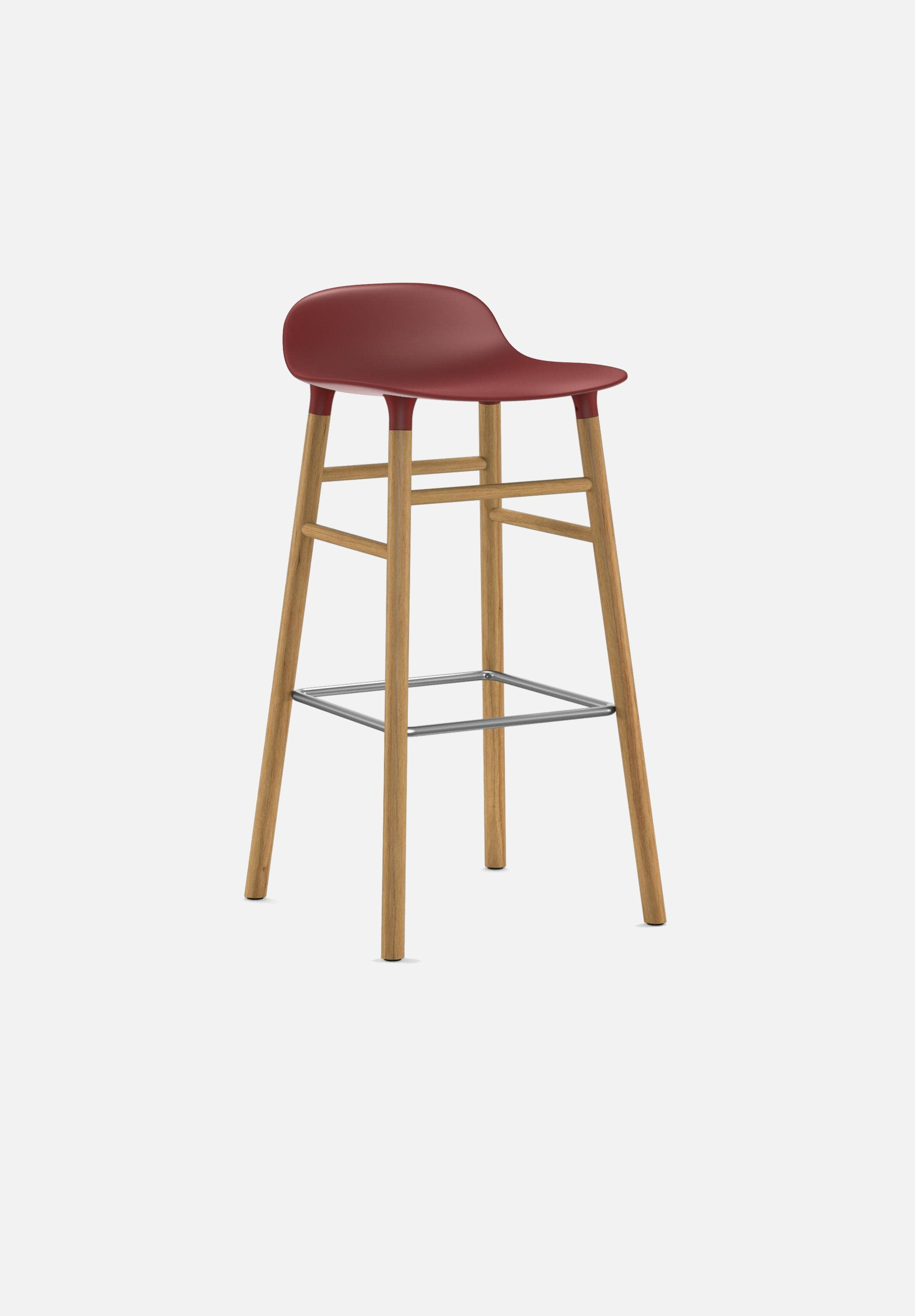 Form Stool — 75cm-Simon Legald-Normann Copenhagen-Red-Solid Oak-Average-canada-design-store-danish-denmark-furniture-interior