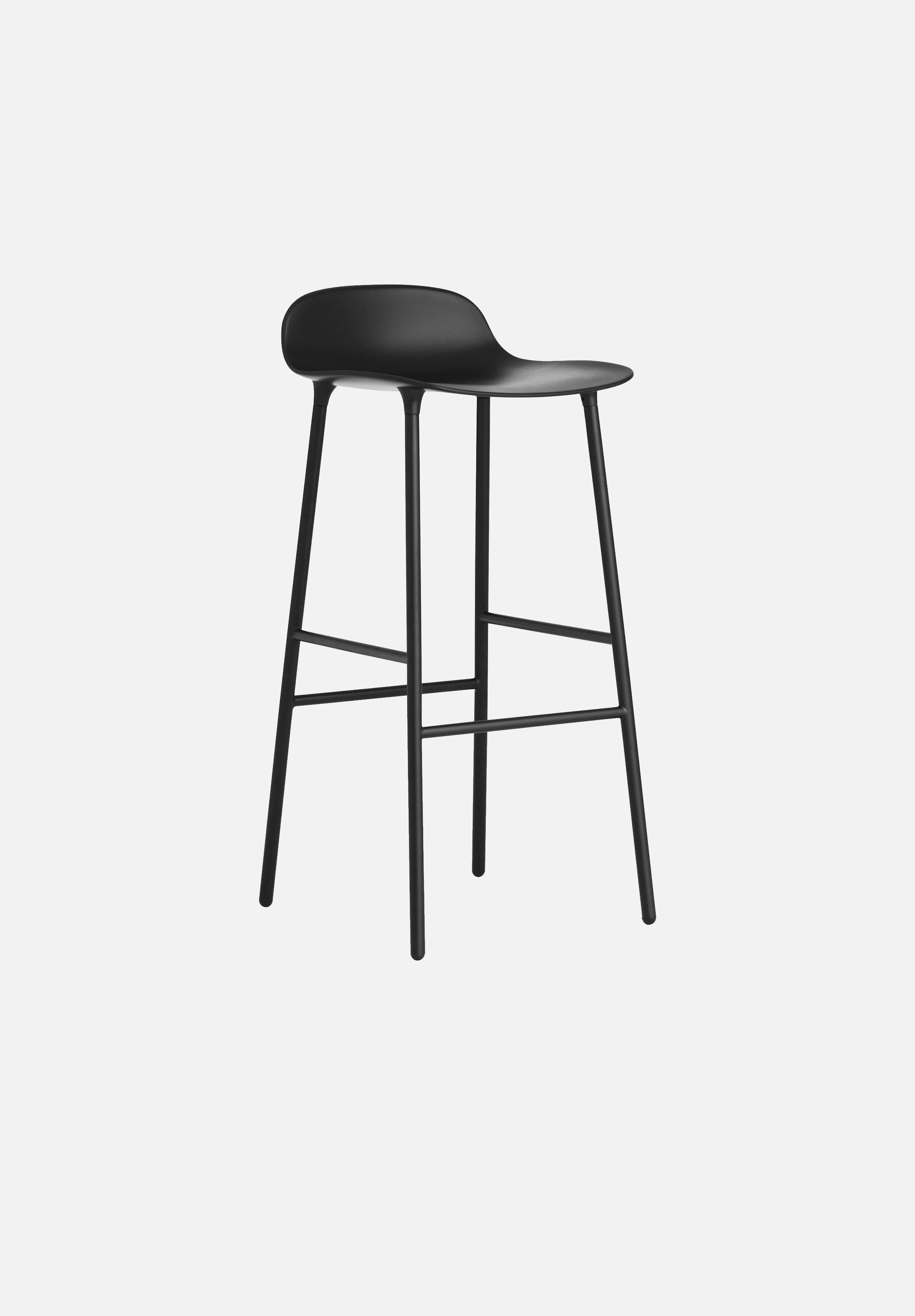 Form Stool — 75cm-Simon Legald-Normann Copenhagen-Black-Lacquered Steel-Average-canada-design-store-danish-denmark-furniture-interior