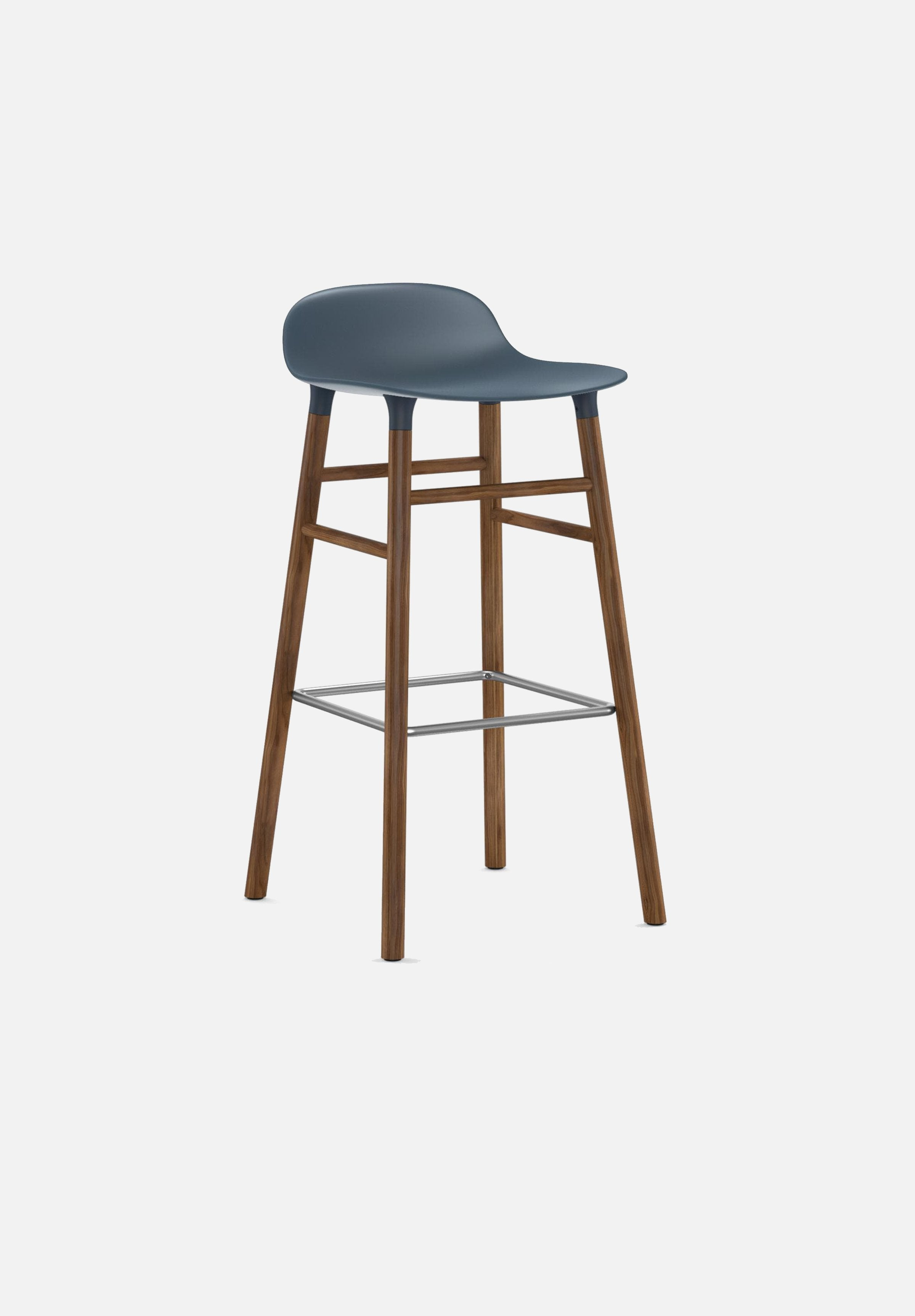 Form Stool — 75cm-Simon Legald-Normann Copenhagen-Blue-Solid Walnut-Average-canada-design-store-danish-denmark-furniture-interior