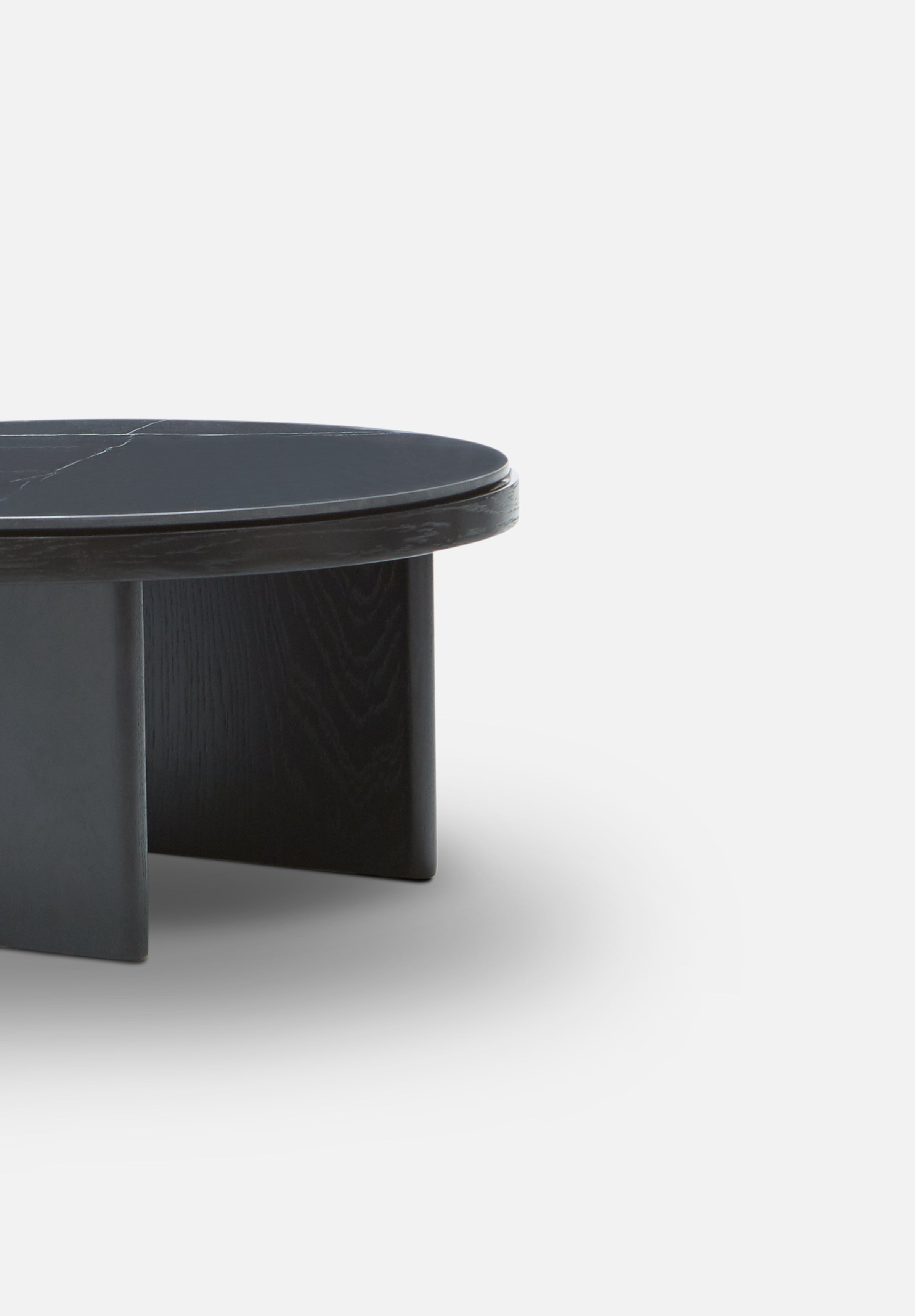 Anza — Marble Coffee Table-Please Wait to be Seated-Black Stained Oak-Average