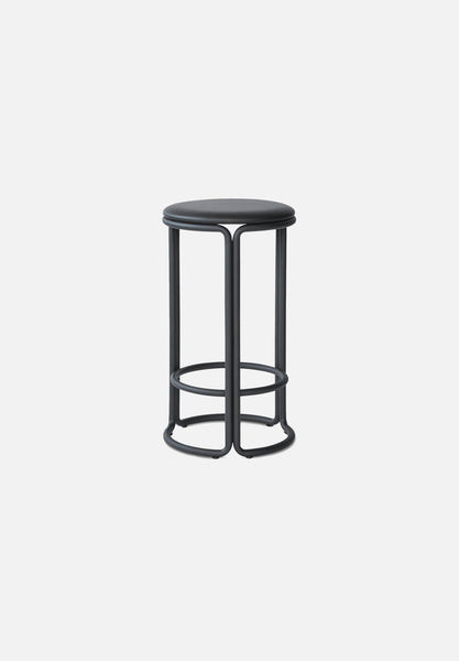 Hardie Bar/Counter Stool — Black / Black Leather