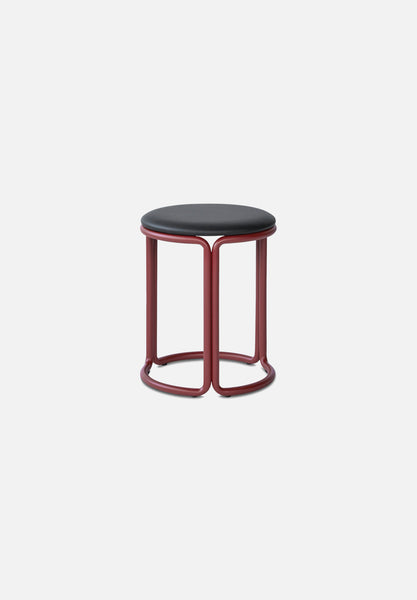 Hardie Stool — Basque Red / Black Leather