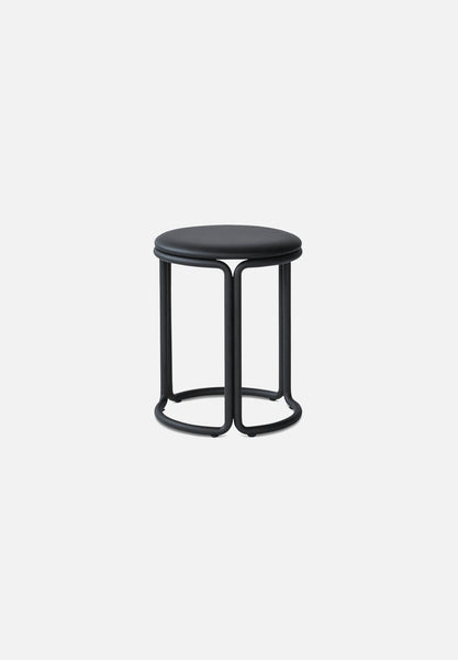 Hardie Stool — Black / Black Leather