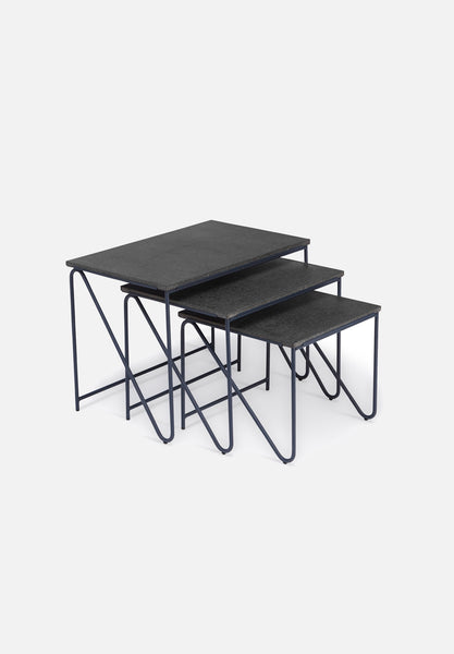 Triptych Nesting Table — Raw Lava Rock-All The Way To Paris-Please Wait To Be Seated- - Average Toronto Canada Design