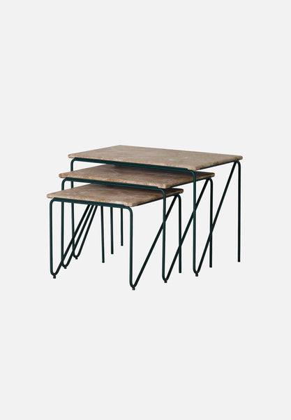 Triptych Nesting Table — Brown Marble-All The Way To Paris-Please Wait To Be Seated- - Average Toronto Canada Design