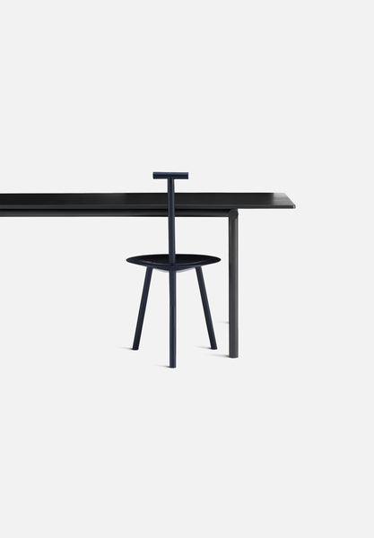 "Tubby Tube Table — 270cm/106""-Faye Toogood-Please Wait To Be Seated-Black Steel-Black Ash- - Average Toronto Canada Design"