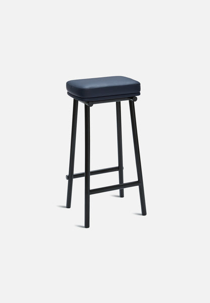 Tubby Bar Stool-Faye Toogood-Please Wait To Be Seated-Navy Leather- - Average Toronto Canada Design