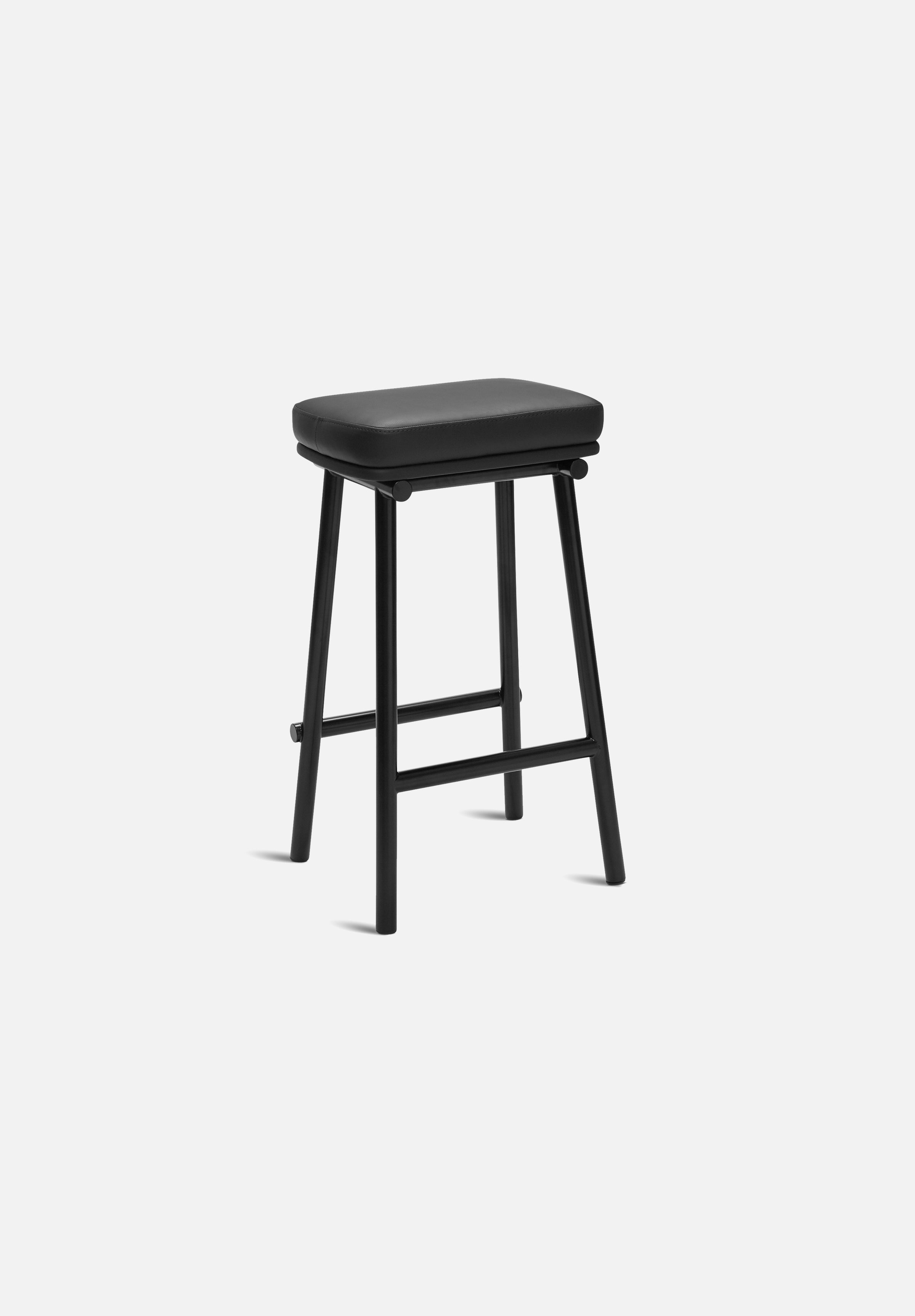Tubby Tube Bar/Counter Stool — Black Leather