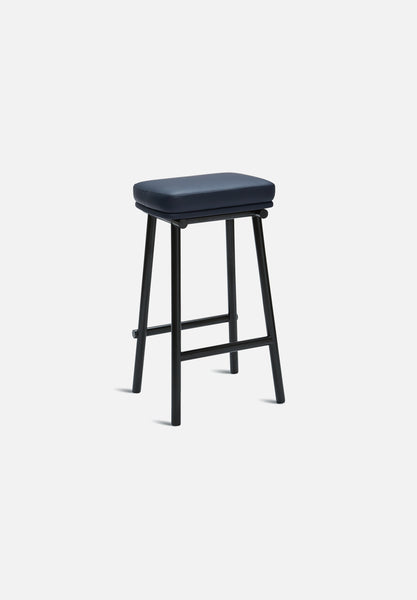Tubby Tube Bar/Counter Stool — Navy Leather