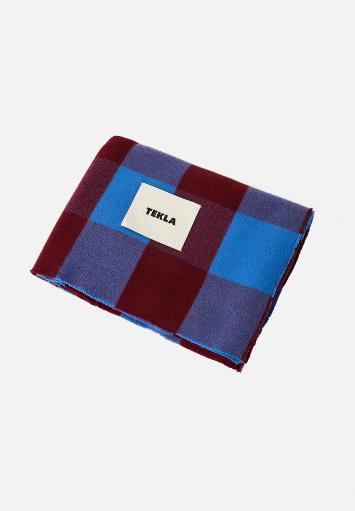 Merino Wool Blanket — Red & Blue