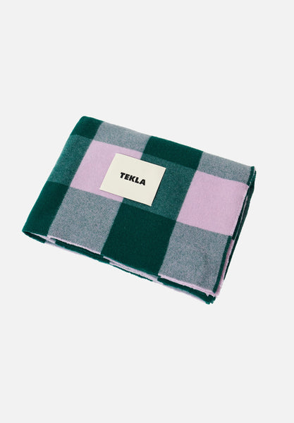 Merino Wool Blanket — Green & Lavender-Tekla-Average