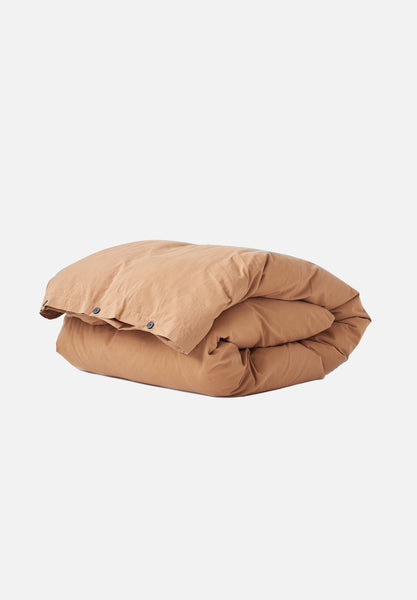 Organic Cotton Duvet Cover — Ocra Brown-Tekla-Average
