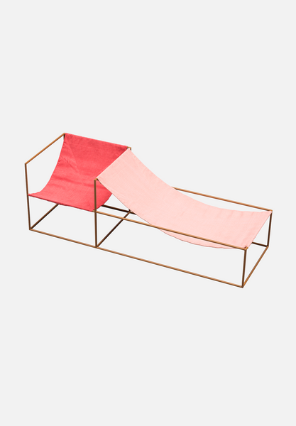 Duo Seat — Red/Pink Linen