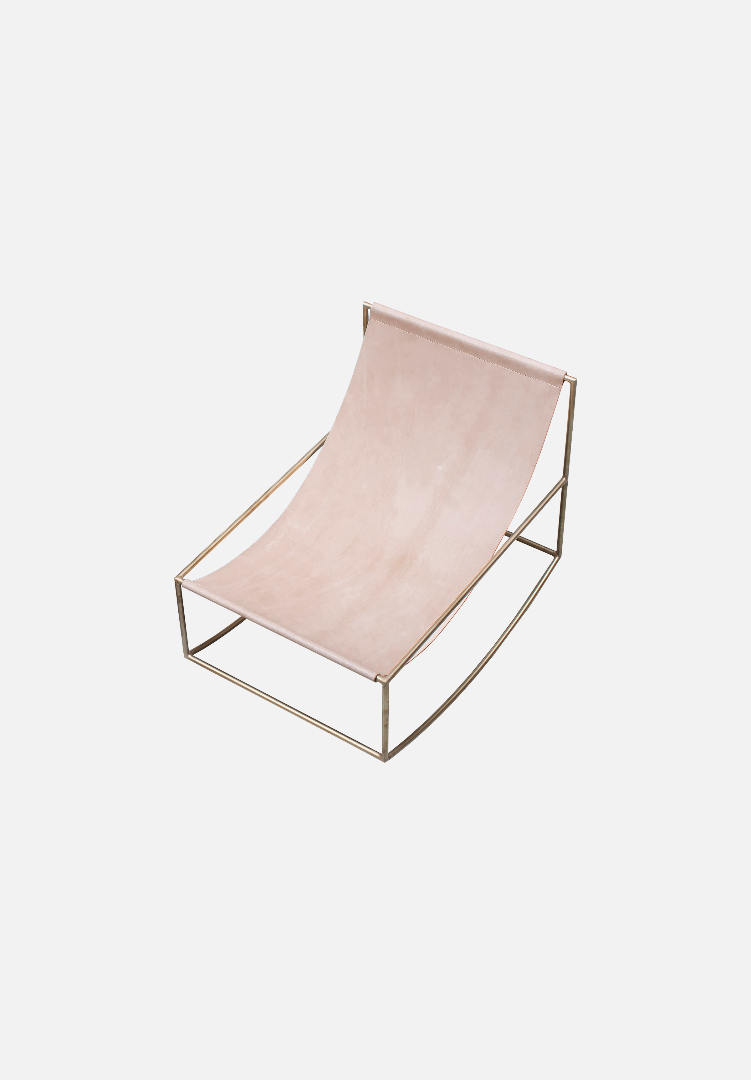 Rocking Chair — Brass/Leather
