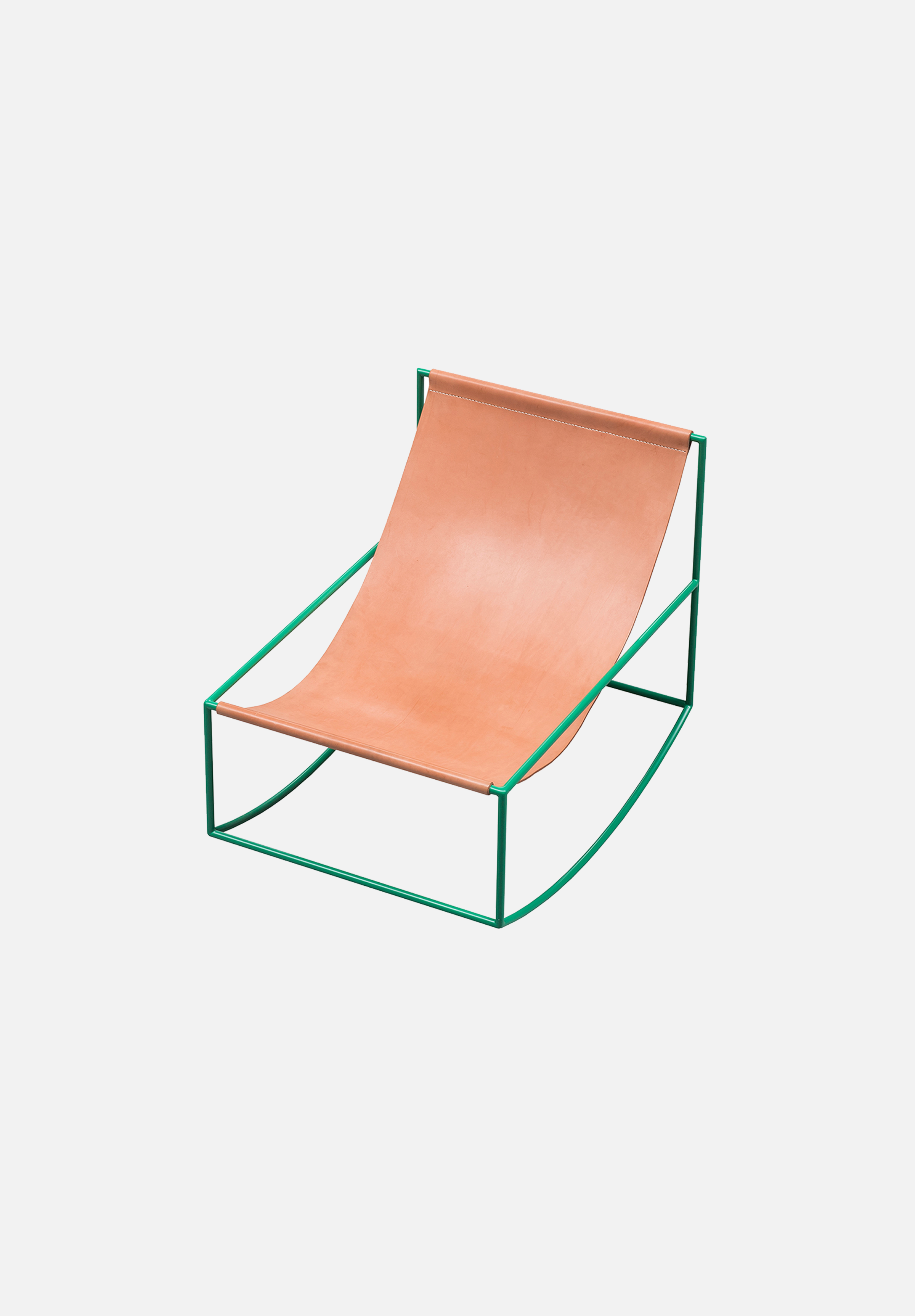 Rocking Chair — Green/Leather