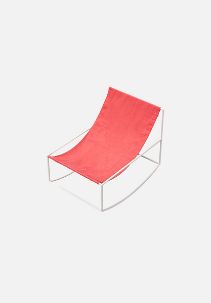 Rocking Chair — White/Red Linen
