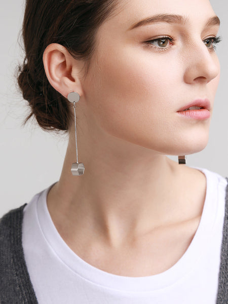 Silver Hexagon Spirit Earrings