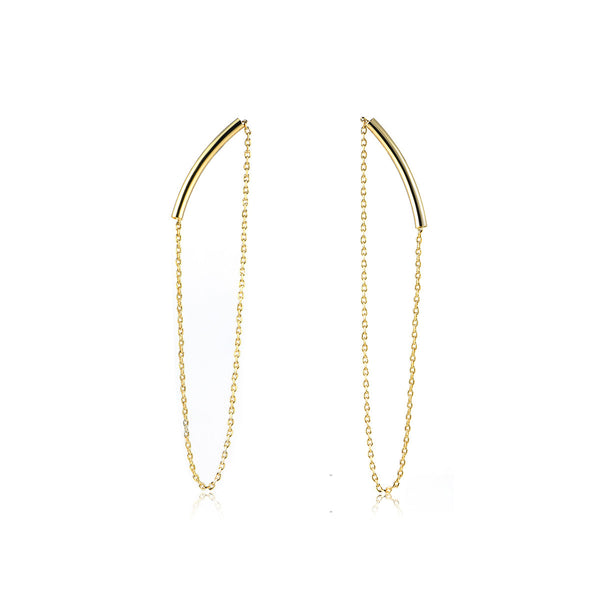 Curved Chain Drop Earrings