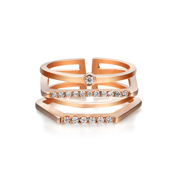 Gia Rose Gold Pre Stacked Ring