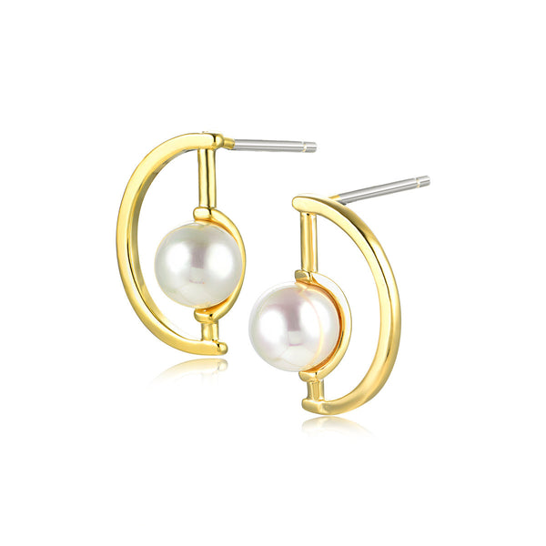 Pearl in Heart Earrings