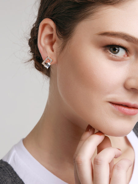 Sparkling Crystal Square Earrings