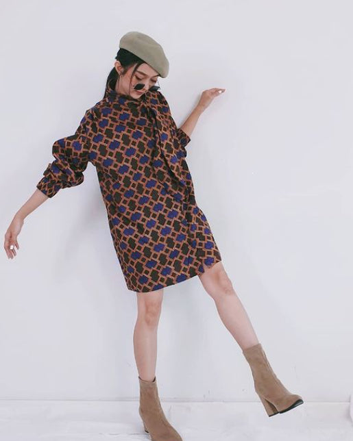 Women Belle Brown Tie Shirt Dress - Roses & Rhinos