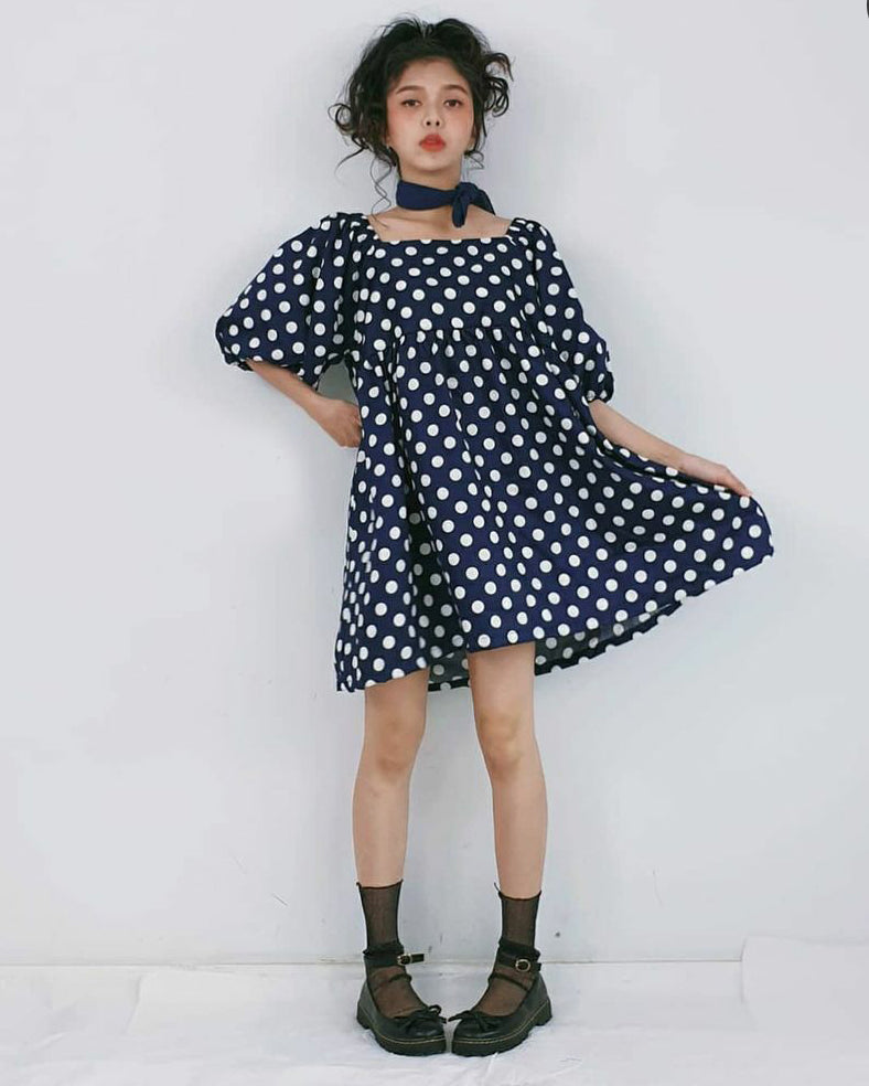 Women Navy Polka Dot Baby Doll  Dress - Roses & Rhinos