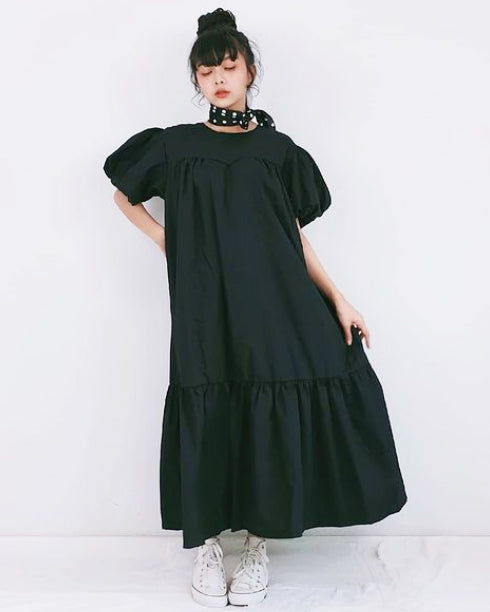 Women Black  Bub Bubble Sleeve Dress - Roses & Rhinos