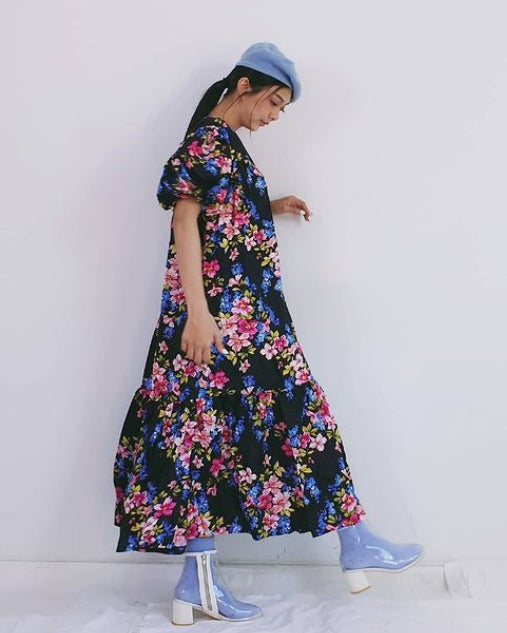Women Black Flora Bub Bubble Sleeve Dress - Roses & Rhinos