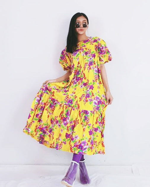 Women Yellow Bub Bubble Sleeve Dress - Roses & Rhinos