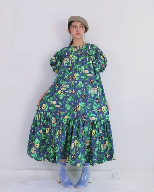 Women Blue Bub Bubble Sleeve Dress - Roses & Rhinos