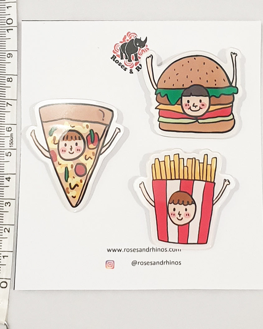 Burger Face Food x 3 Pin