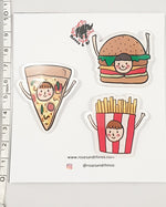 Burger Face Food x 3 Pin - Roses & Rhinos