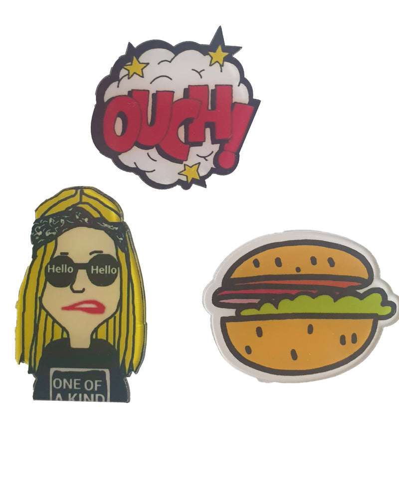 Burger Ouch x 3 Pin - Roses & Rhinos