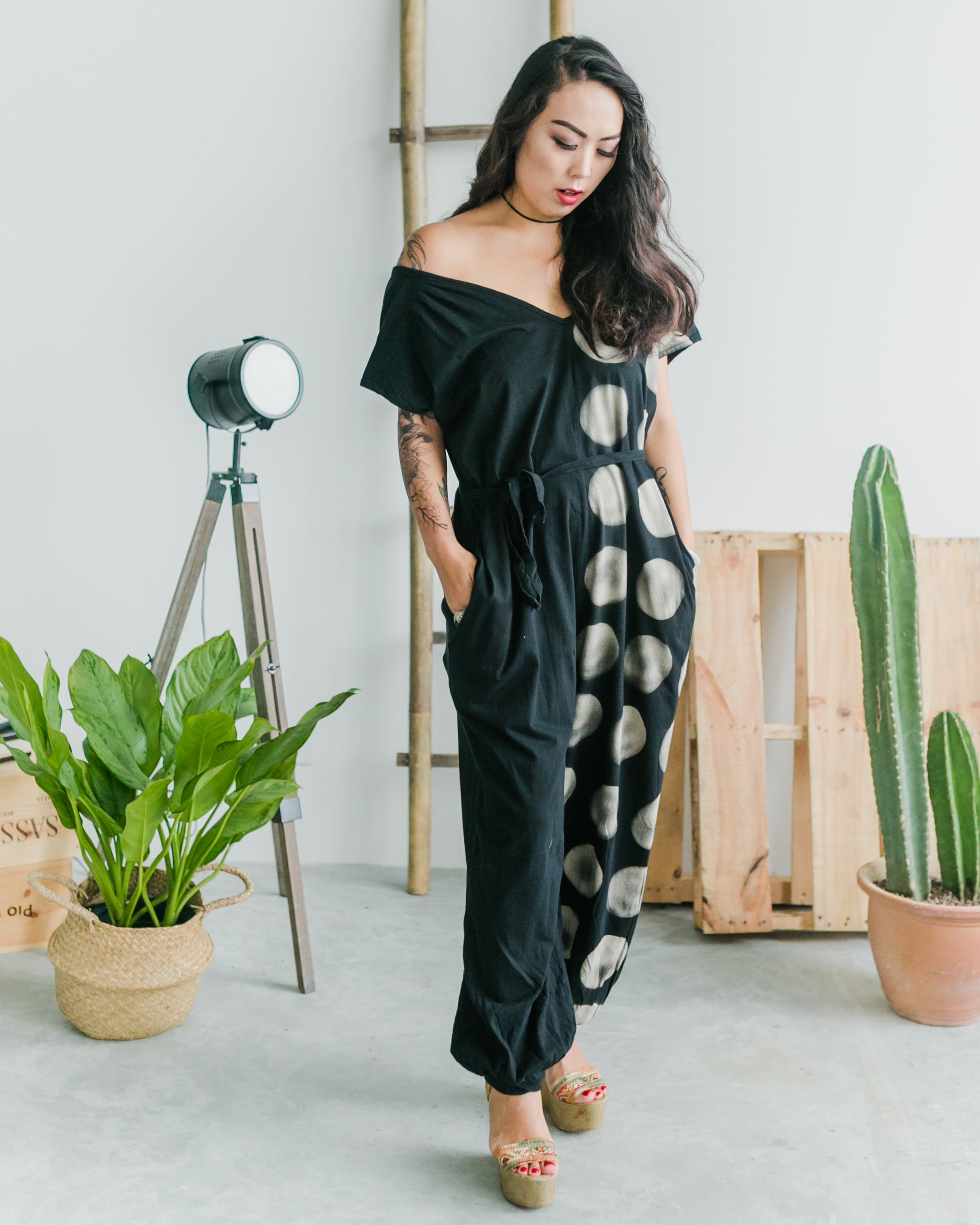 Women's Circle Jumpsuit - Roses & Rhinos