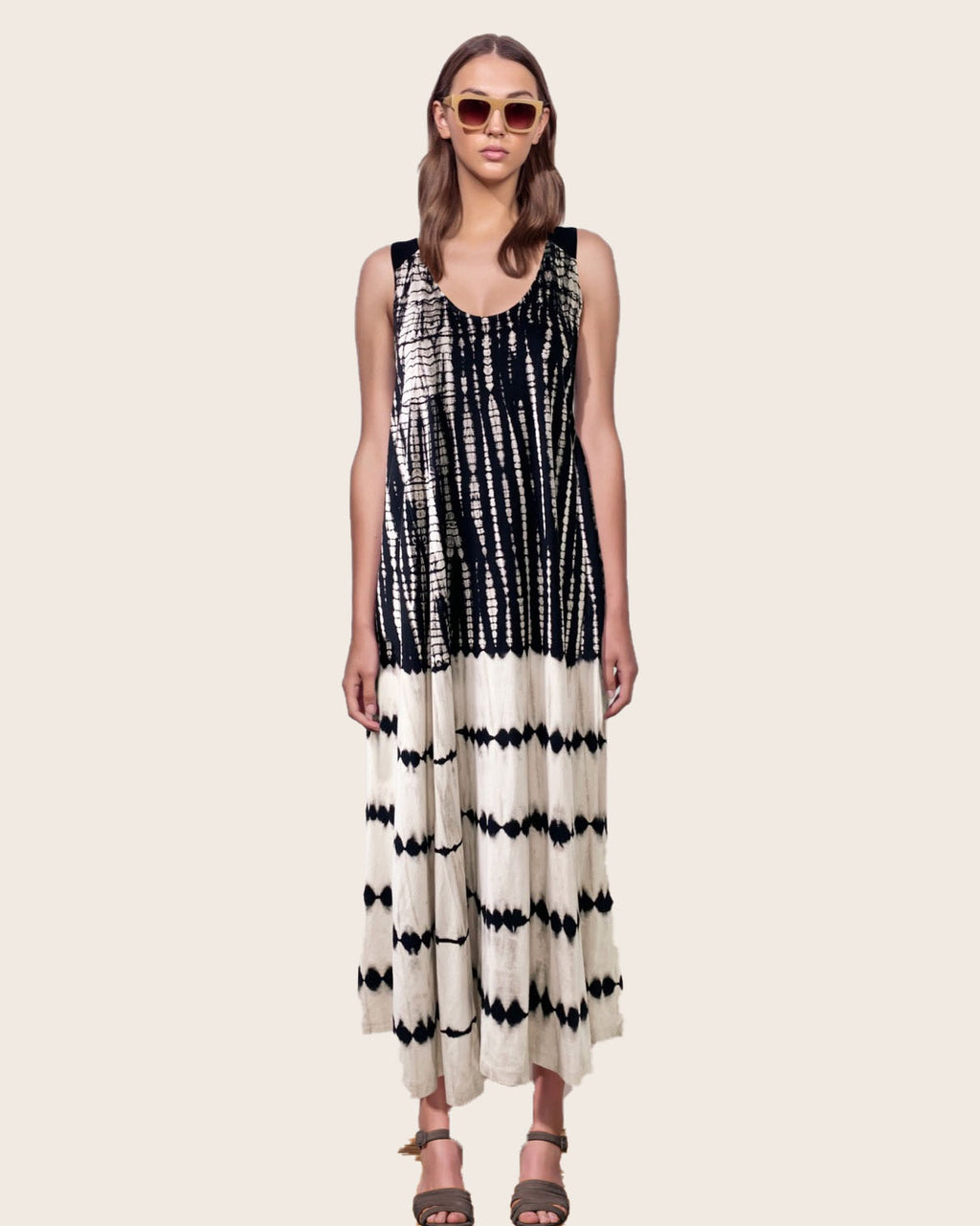 Women Cross Back Stripe Dress - Roses & Rhinos